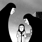 Color fades when satrapi flashes back to Iran