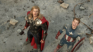 Thor and Captain America battle Loki