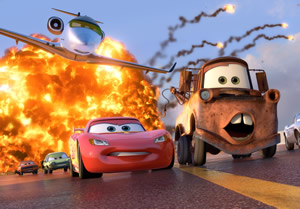 A scene of explosive action in Cars 2.