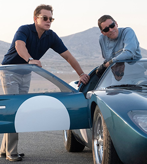 Carroll Shelby (Matt Damon, left) and Ken Miles (Christian Bale)