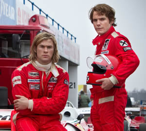 James Hunt (Chris Hemsworth) and Niki Lauda (Daniel Bruhl)