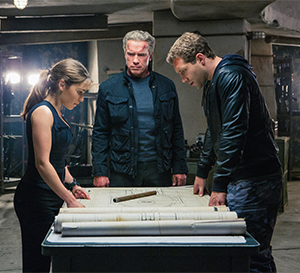 "Sarah (Emilia Clarke), ""Pops"" (Arnold Schwarzenegger) and Kyle (Jai Courtney) plot their course."