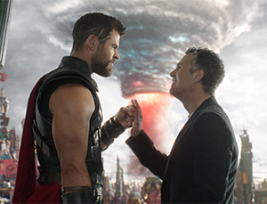 A tender moment between Thor and Bruce Banner