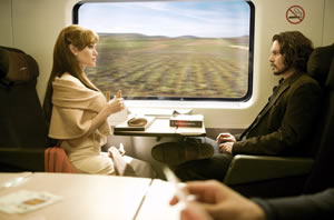 Jolie and Depp: Strangers on a train